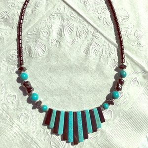 Turquoise and metal statement necklace